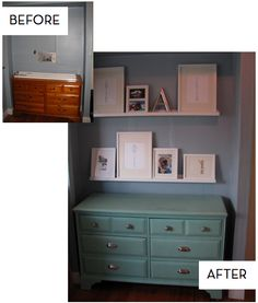 Have a dresser I want to makeover...someday it will happen:) Diy Dresser Makeover, Furniture Makeover, Dresser Makeovers, Dresser Ideas, Repurposed Furniture, Cool Furniture, Refinished Furniture, Furniture Projects, Home Projects