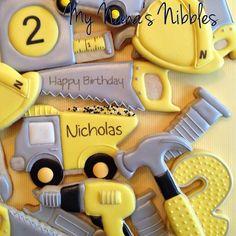 Happy 2nd Birthday Nicholas. #tool cookies #truck cookies #birthdaycookies