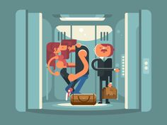 Kissing in the elevator by Anton Fritsler (kit8)
