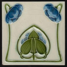 Art Nouveau tile by Rhodes Tile co. Tile is in good condition but has some small nicks to relief and sides, see picture.  AN846 England C 1900