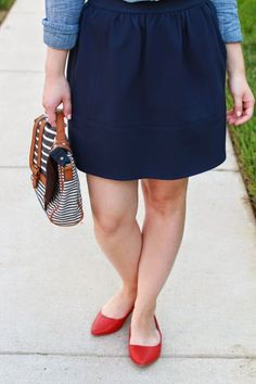 The Red Shoes   Something Good, chambray shirt, madewell skirt, red flats, lulu*s shoes, american eagle outfitter chambray, aeo, women's fashion, clothing, style, clothes, fashion, navy skirt, denim shirt, skirty, pointed ballet flats