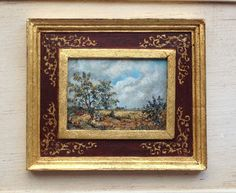 Miniature Oil painting. Handpainted. 1:12 scale. 58 by MINIATURAFR Dollhouse Interiors, Diy Dollhouse, Dollhouse Miniatures, Gouache, Pastel, Artisan, Hand Painted, Etsy, Frame