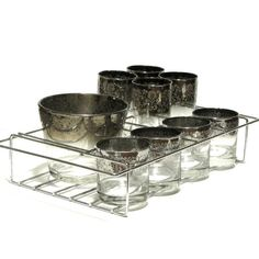 Royal Luster Silver Ombre Madeira Glassware Party Set Textured... ($75) ❤ liked on Polyvore featuring home, kitchen & dining, drinkware, silver glassware, silver caddy, tub caddy and ombre glassware