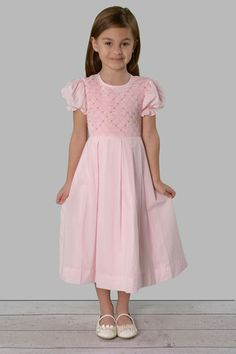 Addison pink and white cotton hand smocked birthday dress | Savannah Children