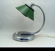 Art Deco Chrome-plated Metal Lamp with Green Enamelled Metal Shade