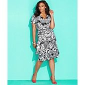 INC International Concepts Plus Size Dress, Short-Sleeve Printed Faux-Wrap