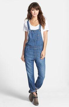 'heather' denim overalls