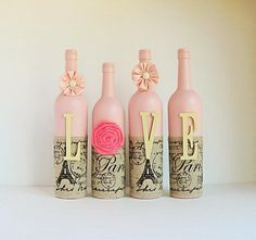 bottle crafts with burlap Rose Gold and White wedding wine bottle centerpieces Glass Bottle Crafts, Wine Bottle Art, Painted Wine Bottles, Diy Bottle, Bottles And Jars, Beer Bottles, Alcohol Bottle Crafts, Decorated Bottles, Wrapped Wine Bottles