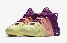 691e949bdc7b This Nike Air More Uptempo Tri-Color (Style Code  is part of a Lucky Charms  Pack dressed in Citron Pink Bright Purple-Night Grape.