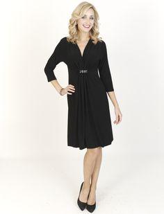 Black Dresses - Diamante Jersey Shift Black Dress - http://www.blackdresses.co.uk