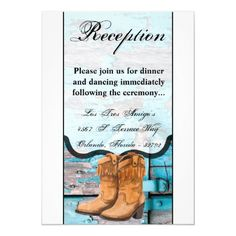 3.5x7 Reception Card Blue Wood Barn Door Boots Wedding Rehearsal Invitations, Save The Date Invitations, Beautiful Wedding Invitations, Wedding Rsvp, Custom Invitations, Wedding Cards, Invites, Debut Invitation, Invitation Design