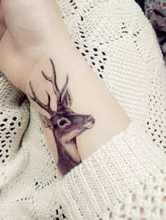 temporary tattoo deer head patty paster sticker by prosciuttojojo - Tattoos - - celina Tattoos Motive, Head Tattoos, Fake Tattoos, Pretty Tattoos, Beautiful Tattoos, Temporary Tattoos, Body Art Tattoos, Small Tattoos, Unique Tattoos