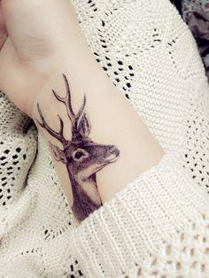temporary tattoo deer head patty paster sticker by prosciuttojojo