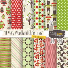 Woodland Christmas Digital Scrapbook Paper, Christmas Owl, Fox, Bear, Acorn, Instant Download, Commercial Use, 8.5x11 & 12x12