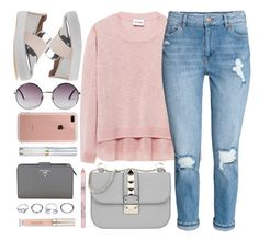 """""""Number One"""" by monmondefou ❤ liked on Polyvore featuring Stuart Weitzman, Valentino, Monki, Belkin, Urban Decay, GUESS, Prada, Stila and Pink"""