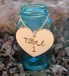 Wood Table Numbers Rustic Hearts Woodland Wedding....gerber daisies in it...hmmm....totally doing