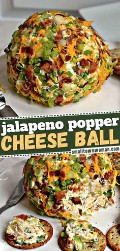 A New Year party appetizer everyone will love! Full of bacon, jalapeno, cheddar, and cream cheese, this cheese ball is delicious when served with assorted crackers, crostini, carrots, celery, pretzels, or apple slices. Make this recipe ahead for easy holiday entertaining! Appetizers For Party, Yummy Appetizers, Appetizer Recipes, Gf Recipes, Low Carb Recipes, Cooking Recipes, Snack Recipes, Jalapeno Cheddar, Jalapeno Poppers