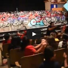 Tears of joy! Watch what happens when the school principal tells 120 grade students they're ALL getting new bicycles! He's doing it like Oprah! New Bicycle, Bike, Cycling Events, Tears Of Joy, School Kids, Oprah, Getting Out, Bicycles, Student