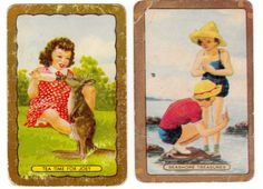 swap cards playing cards vintage COLES lady and kangaroo animals  sold $3