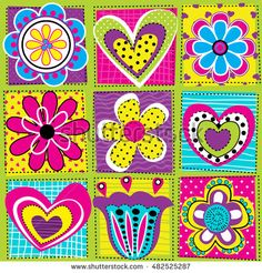 Vector seamless geometric cute pattern with flowers and hearts on squares. Girlish funny cartoon  colorful wallpaper  for textile and fabric.