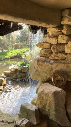 Flaxbourne Gardens is all about the hidden features & our Grotto with waterfall is just one of them 💚stunning wedding venue in Buckinghamshire just away from Milton Keynes, it's a world away from anywhere else you've been 💚 Backyard Pool Designs, Ponds Backyard, Backyard Waterfalls, Koi Ponds, Jardim Natural, Garden Waterfall, Backyard Water Feature, Garden Fountains, Outdoor Fountains