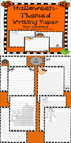 Halloween-Themed Writing Paper comes in four printable versions: black line, wide ruled, and thin ruled. The 24 pages come with cute graphics that can span grades 2-12 and can be used for any Halloween or October writing project or prompt. We love Halloween at It's a Teacher Thing, and we hope you enjoy this product.