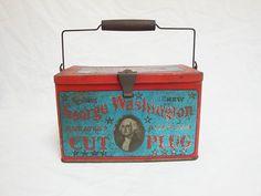 Vintage George Washington Tin Tobacco Advertising Cut Plug Lunch Pail | eBay