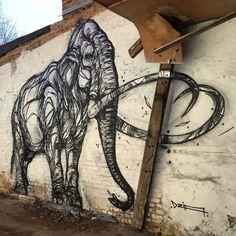 Pixel Loft, Stunning Animal Street Art Made with Geometric Lines by Dzia