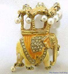 Kenneth Jay Lane KJL Vintage Elephant Howdah Pin Pearls Gorgeous Unique  #KennethJayLane