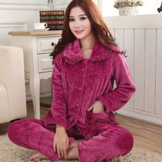 Autumn Winter Long Sleeved Women Flannel Thick Pajamas Coral Fleece Suits Pajama Sets Lovely Pyjamas Women Homewear Plus Size Fleece Pajamas, Pyjamas, Fall Winter, Autumn, Pajamas Women, Pajama Set, Flannel, Coral, Leather Jacket