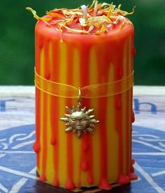 MIDSUMMER MAGIC Golden Sunny Yellow and Warm Red Orange Litha Sabbat Ritual Altar Spell Soy Pillar Candle w/ Baltic Amber by ArtisanWitchcrafts