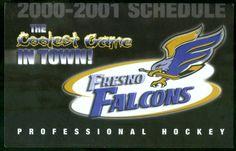 2000-01 FRESNO FALCONS CARLS JR HOCKEY POCKET SCHEDULE FREE SHIPPING #PocketSchedules