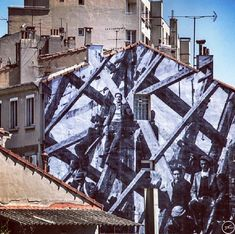 """Unframed in Marseille"" photographic street art by JR - Made In Slant Graffiti Wall Art, Street Art Graffiti, Mural Art, Wall Murals, Mama Shelter Marseille, Front Populaire, Street Installation, Jr Art, Street Gallery"