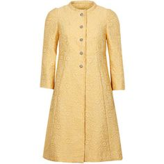 Dolce & Gabbana Yellow Cotton Blend Floral Brocade Coat