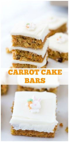 These carrot cake bars are your favorite Easter recipe with perfectly spiced carrot cake and a sweet orange cream cheese frosting. #cake #carrot