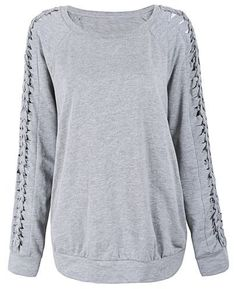 Light Grey Cut Out Lace Up Raglan Sleeve Sweatshirt