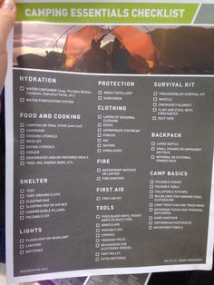 List of essentials for camping