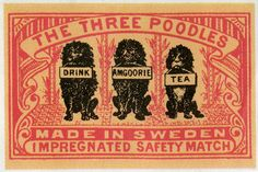 The Three Poodles, #tulitikkuetiketit #etiketit #matchbox #labels