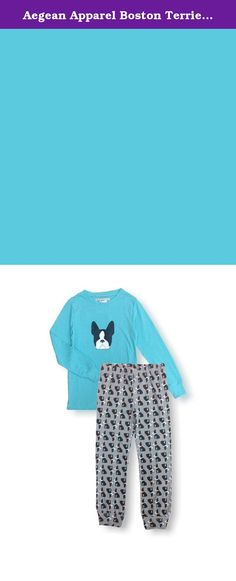 Aegean Apparel Boston Terrier Printed Kids PJ Set, Turquoise, Polyester Jersey Knit (XL (14)). Perfect for bedtime & sleepovers, she'll love to get cozy in this super cute Boston Terrier Printed PJ Set by Aegean Apparel! These leggings feature a super comfy Polyester Jersey knit with a vibrant print and an easy fit elastic waistband. The matching Long Sleeve Top is made of a Polyester Jersey knit. This product complies with the Children's Sleepwear Standard under the Flammable Fabrics Act...