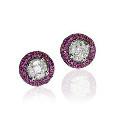 Diamond Navettes Ruby Earring  Diamant Navettes und Rubin Ohrstecker in Weissgold mit 0,444ct Rubine, 0,460ct Diamanten