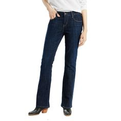 27be1ed08c4 Details about Levi's 515 Boot Cut Jeans Women's 16 Long Dark Wash Blue Denim  Stretch Red Tab