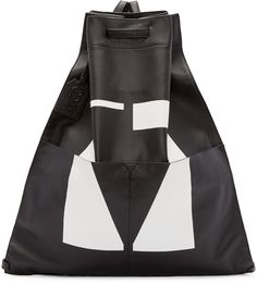 McQ Alexander McQueen Black & White Leather Drawstring Backpack