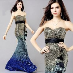 """""""Elegant Series"""" Fishtail Long Evening Backless Crystal/Beading Mermaid Gown / Prom Dress"""