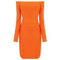 Orange Off-shoulder Long Sleeve Sexy Bandage Dress HL025 (just need $99 now, original price is $118.8) http://www.udobuy.com/goods-13524.html#.Ur0Q79LEeeo