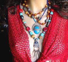 GYPSY  BOHOTribal  Ethnic Necklace Lapis by Frammentidivetro