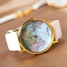 Vintage Style World Map Watch