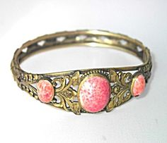 Peach Victorian Style Bracelet of Lilly of the Valley