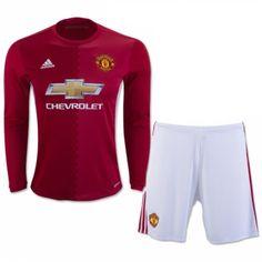 £19.99 Manchester United Kids Home Kit Long Sleeve 2016 2017