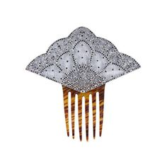 Art Deco Large Rhodium and Paste Hair Comb ❤ liked on Polyvore featuring accessories, hair accessories, jewelry, hair, hats, tortoise shell comb, tortoiseshell comb, tortoise shell hair combs, tortoise shell hair accessories and tortoise hair combs
