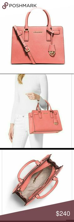 "NWT Michael Kors Dillon Saffiano Leather Satchel This East West Dillon satchel from Michael Kors is made of sleek saffiano leather for style that's sure to attract attention.  Featured in pale pink   Zip top closure  Double top handles; 4.5""  Adjustable crossbody strap; 17.5"" - 19.5""  Signature logo details  Interior features one center zip compartment, three open pockets, one zip pocket, one cell phone pocket and a key fob  Dimensions: 12.5"" X 9.5"" X 4.5"" Michael Kors Bags Satchels"